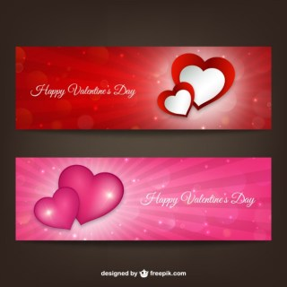 Happy Valentines Day Banners Free Vector