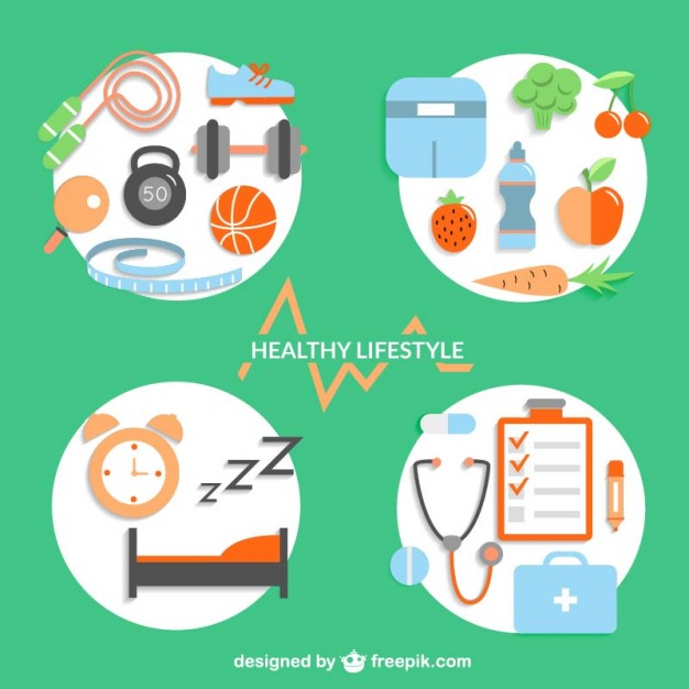 Healthy Lifestyle Design Elements Free Vector
