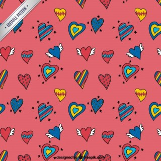 Heart Doodles Pattern Free Vector