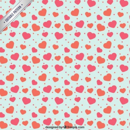 Hearts and Dots Pattern Free Vector