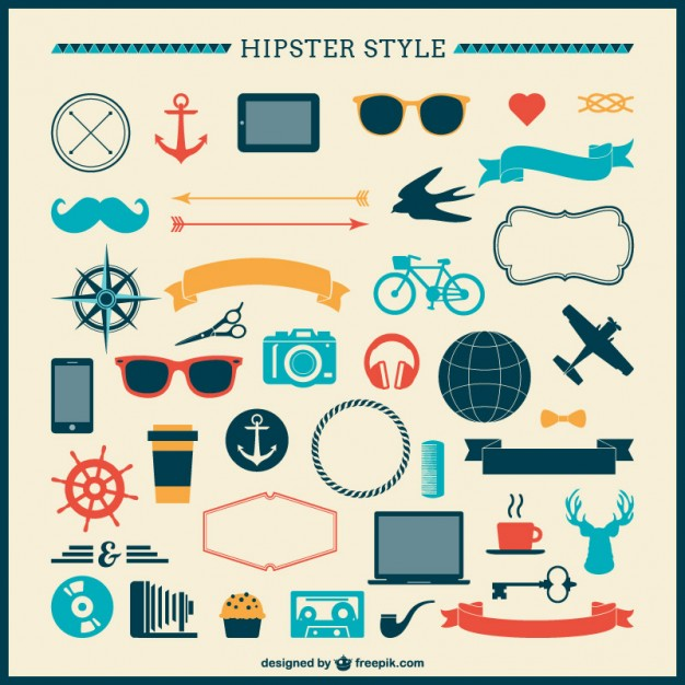 Hipster Ornaments Collection Free Vector