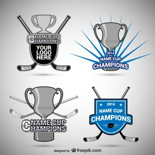 Hockey Badges and Cups Free Vector