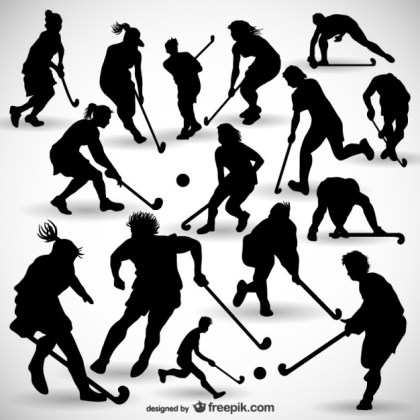 Hockey Player Silhouettes Pack Free Vector