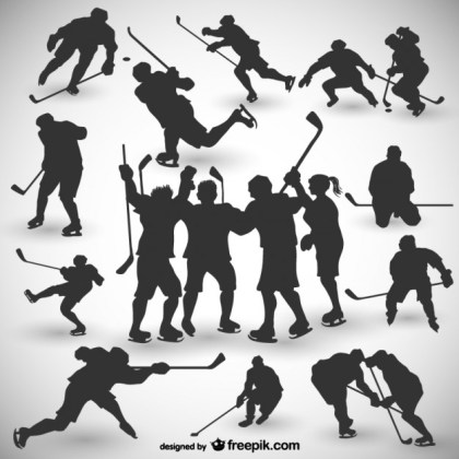 Hockey Players Silhouettes Free Vector