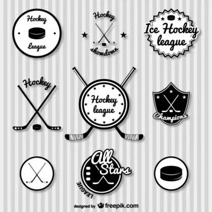 Hockey Retro Badges Free Vector