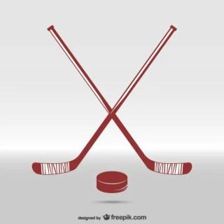 Hockey Sticks and Puck Free Vector