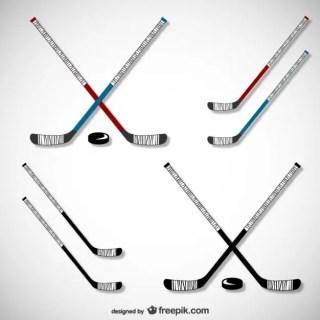 Hockey Sticks and Pucks Free Vector