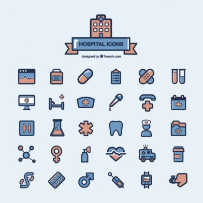 Hospital Icons Collection Free Vector