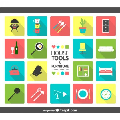 House Tools and Furniture Icons Free Vector