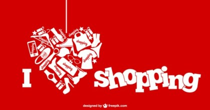 I Love Shopping Illustration Free Vector
