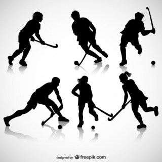 Ice Hockey Players Silhouettes Free Vector