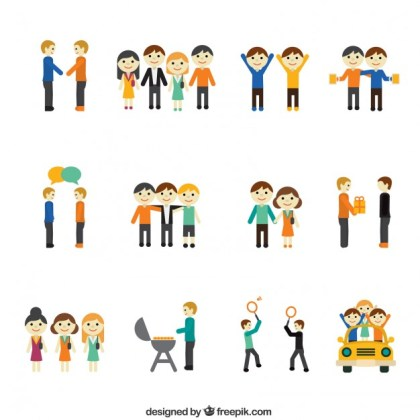 Icons of Friendship Concept Free Vector
