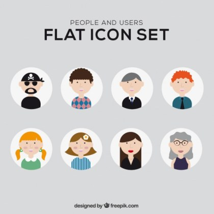 Illustrated People Icons Free Vector