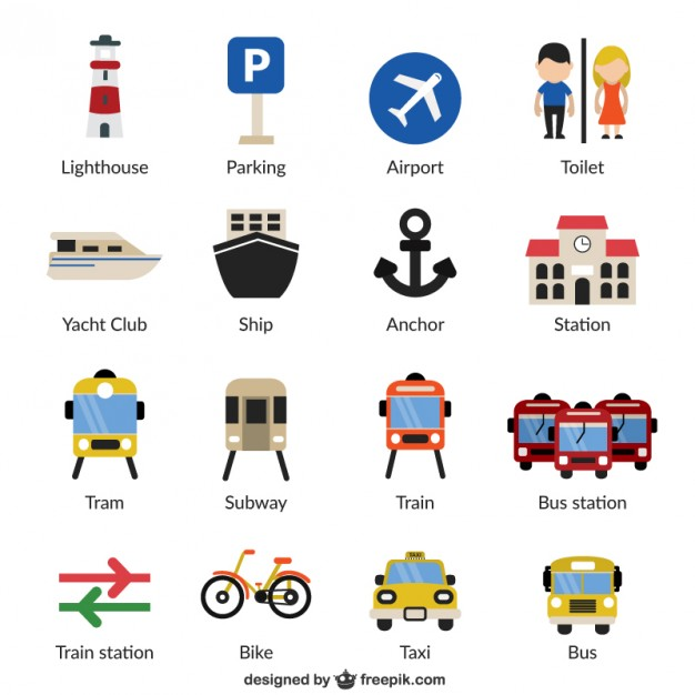 Infrastucture and Transport Icons Free Vector