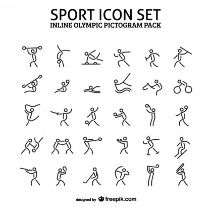 Inline Sport Icon Pictogram Pack Free Vector