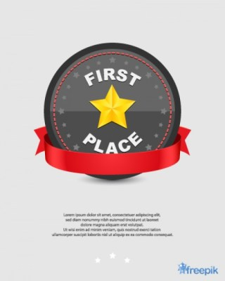 Iron Sheet First Place with Red Ribbon Free Vector
