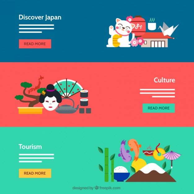 Japanese Culture Banners Free Vector