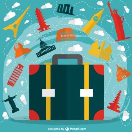 Landmarks Suitcase Background Free Vector