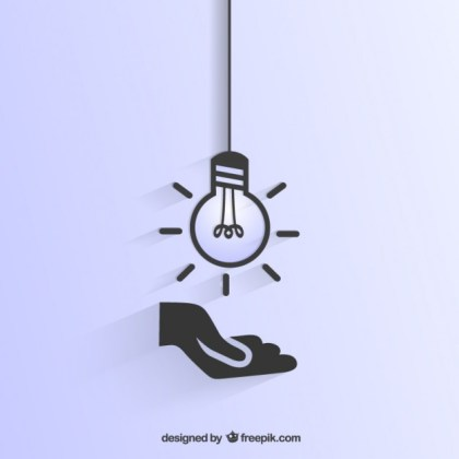 Light Bulb and Hand Icons Free Vector