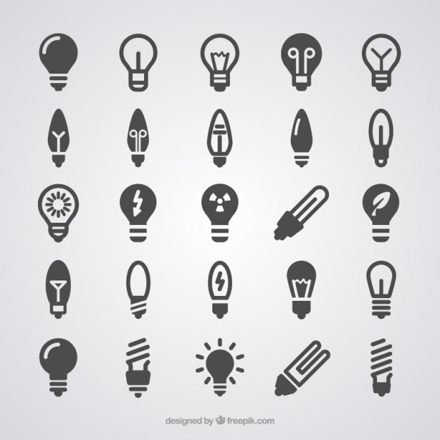 Light Bulb Icons Free Vector