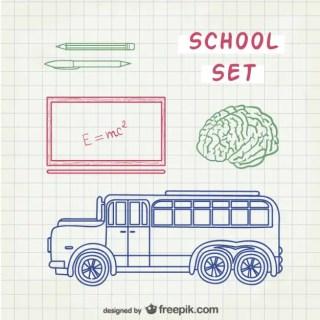 Line Art School Free Vector