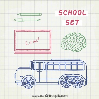 Line Art School Free Vector