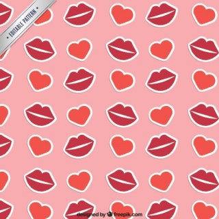 Lips and Hearts Pattern Free Vector