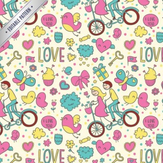 Love Doodles Editable Pattern Free Vector
