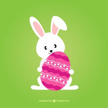 Lovely Easter Bunny with Decorated Egg Free Vector