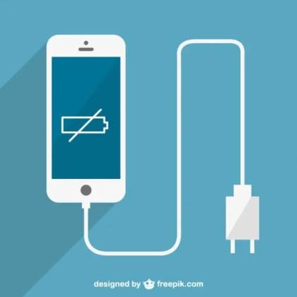 Low Batter Smartphone Charging Free Vector