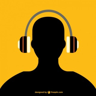 Man with Headphones Silhouette Free Vector