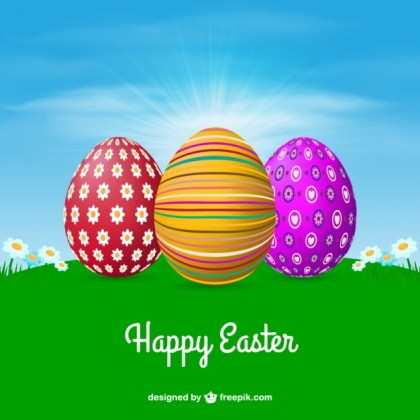 Meadow with Decorated Easter Eggs Free Vector