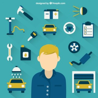 Mechanic and Tools Free Vector
