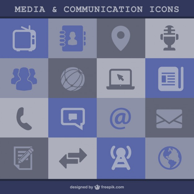 Media and Communication Icons Free Vector