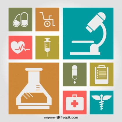 Medical Symbols Flat Illustration Free Vector