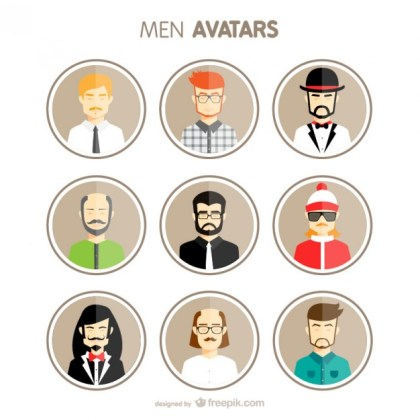 Men Avatars Free Vector