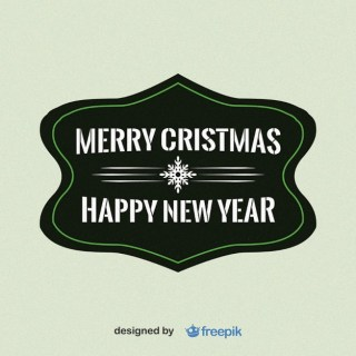 Merry Christmas and Happy New Year with Snowflake in The Middle Label Free Vector