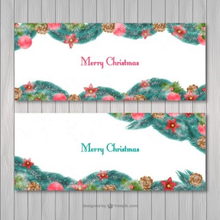Merry Christmas Banners Free Vector