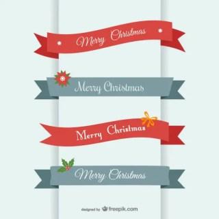 Merry Christmas Ribbon Banner Free Vector