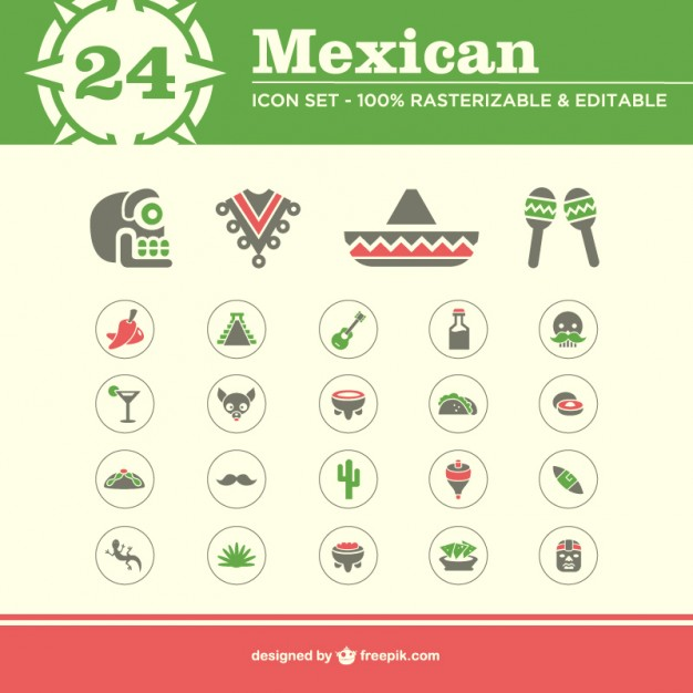 Mexican Icons Free Pack Free Vector