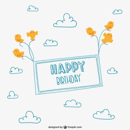 Minimalist Happy Birthday Card Free Vector