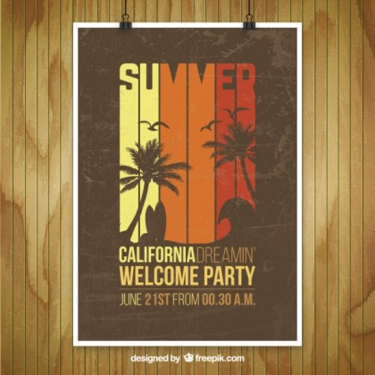 Mockup of Summer Party Poster Free Vector