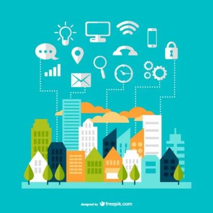 Modern Communication Cityscape Design Free Vector