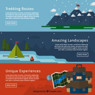 Mountain Adventure Banners Free Vector