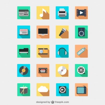Multimedia Devices Icon Pack Free Vector
