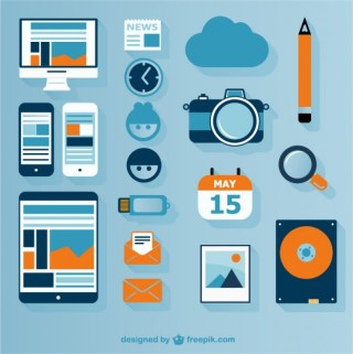 Multimedia Technology Flat Icons Free Vector