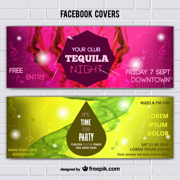 Music Covers Templates with Abstract Background Free Vector