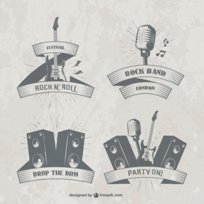 Music Festival Badges Free Vector