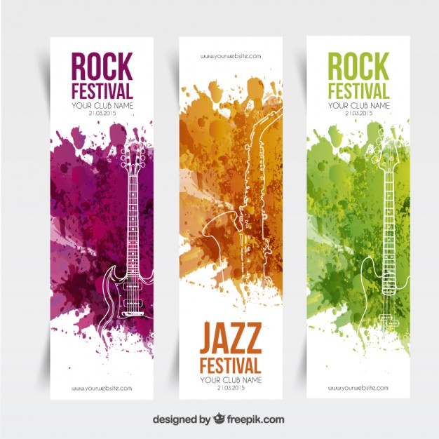 Music Festival Banners Free Vector