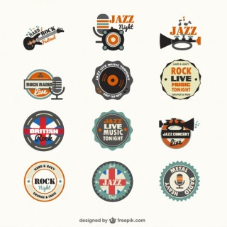 Music Genders Free Badges Free Vector